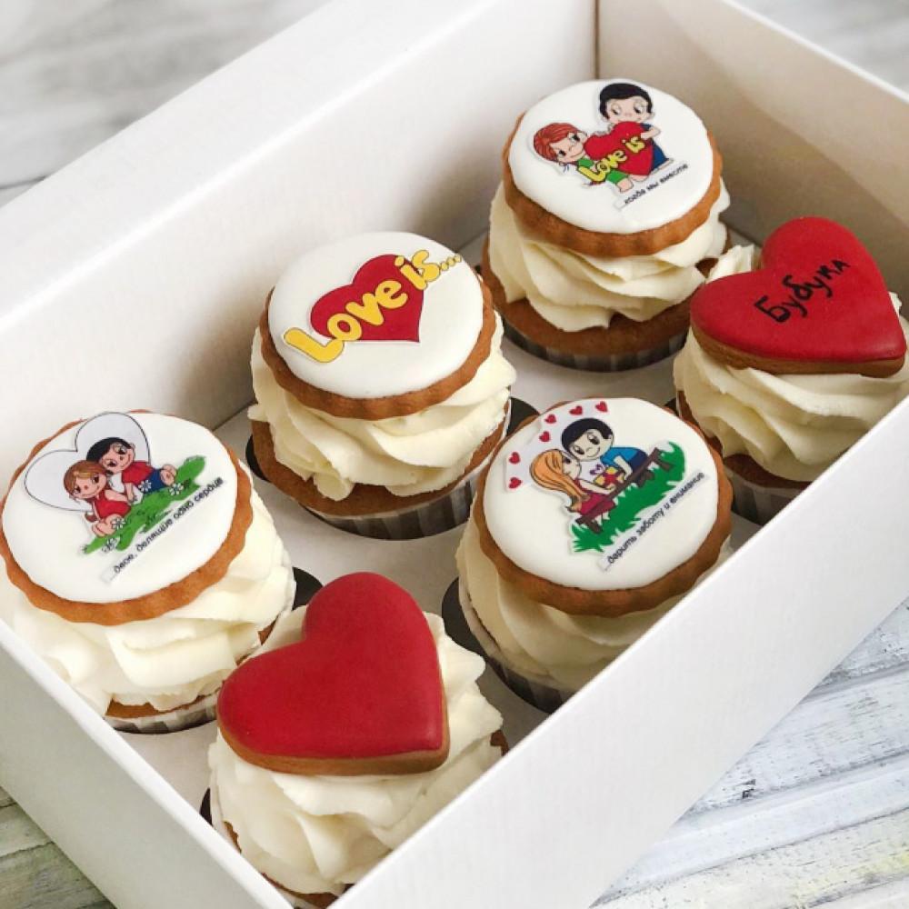 Капкейки с сердцами на День Святого Валентина