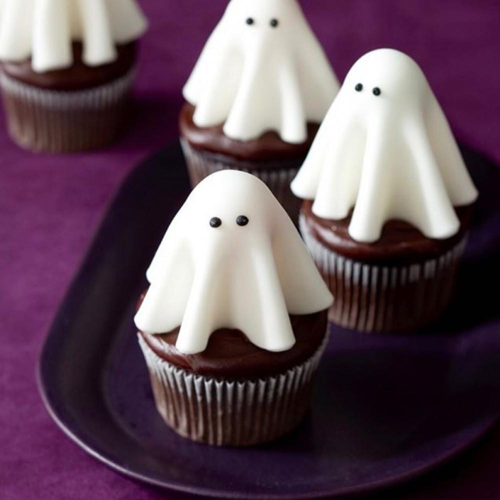 Капкейки с привидениями на Хэллоуин