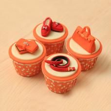 Капкейки для женщины с сумкой, клатчем и туфлями