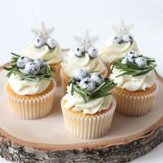 Зимние свадебные капкейки
