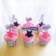 Капкейки с логотипом группы БлэкПинк