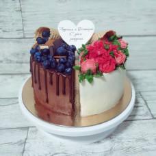 Торт для двух именинников без мастики