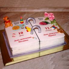 Торт в виде календаря на двоих именинников