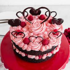Торт на день святого Валентина без мастики