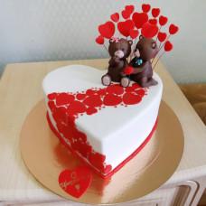 Торт на день влюбленных с мишками
