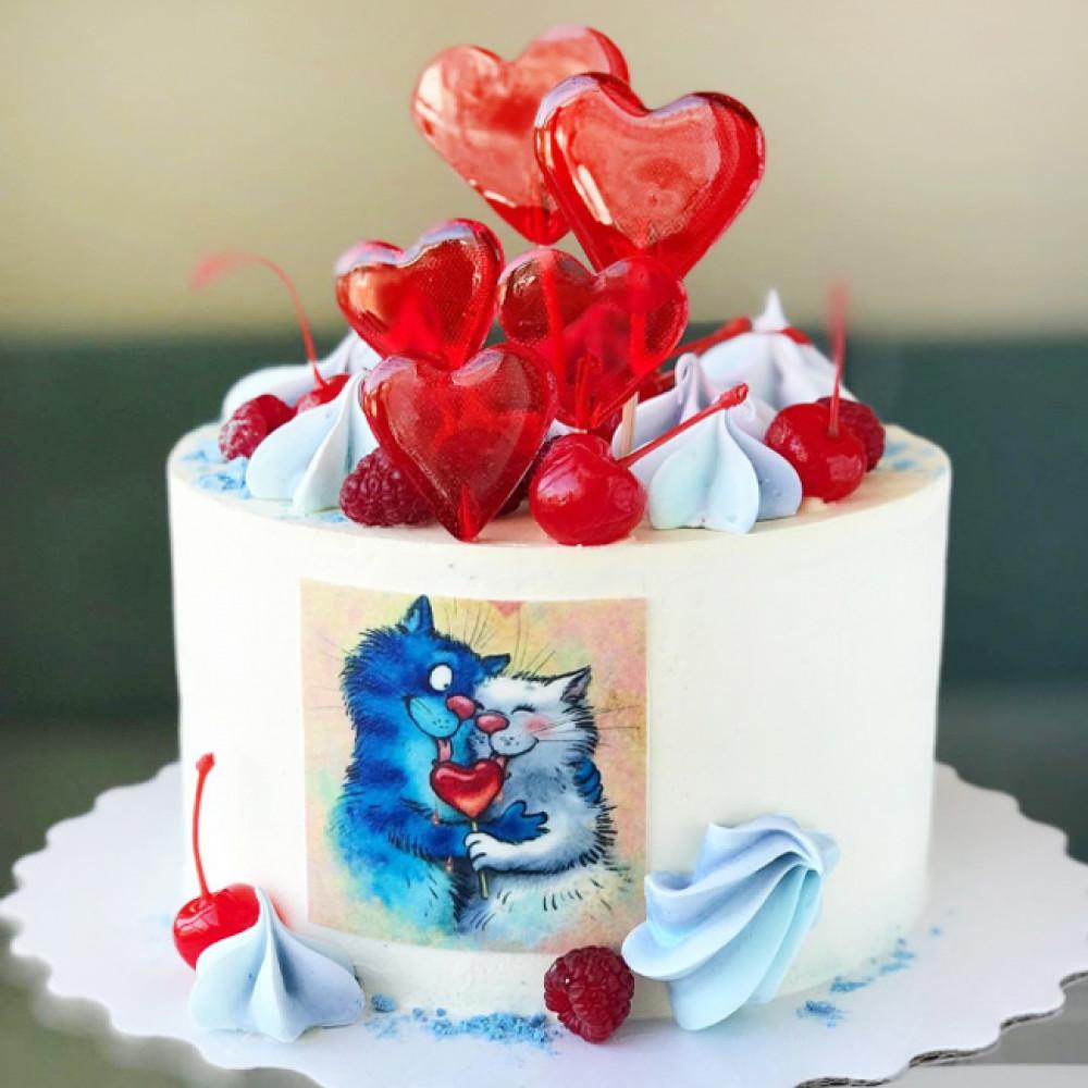 Торт на 14 февраля с котами