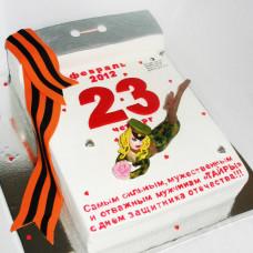 Торт в виде календаря на 23 февраля