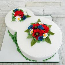 Торт в виде цифры 8 на восьмое марта