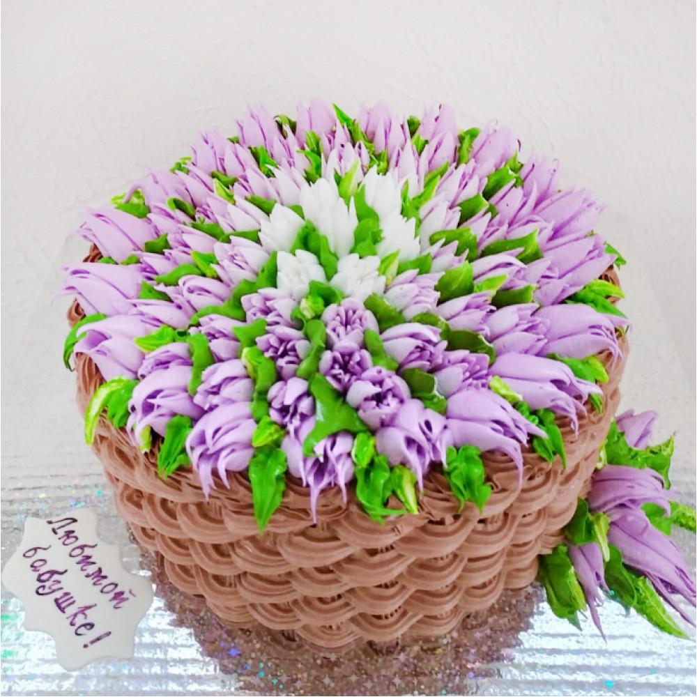 фото торт с тюльпанами из сливок квесте