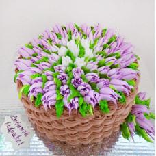 Торт на 8 марта корзина с тюльпанами