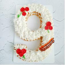 Торт на 9 мая в форме 9