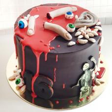 Торт скелет, пальцы, глаза и кровь