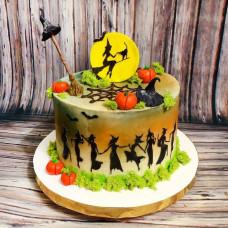 Торт с ведьмами на Хэллоуин