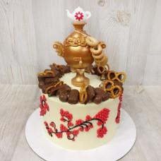 Торт на Масленицу с самоваром и бубликами