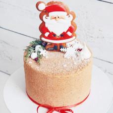 Торт без мастики на Новый год с Дедом Морозом