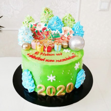 Торт с новогодней тематикой