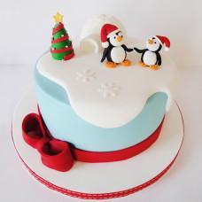 Новогодний торт с пингвинами