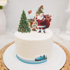 Новогодний торт с Дедом Морозом и Елкой