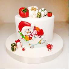 Торт снеговик на Новый год
