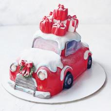 Торт новогодняя машина с подарками