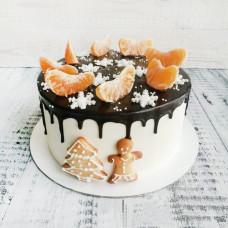 Новогодний торт с дольками мандарины