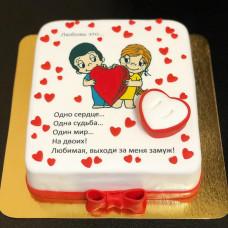 Торт Предложение руки и сердца в стиле Лав из