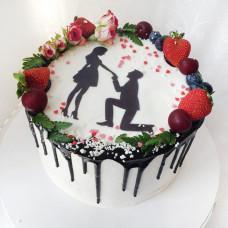 Торт на помолвку с силуэтами