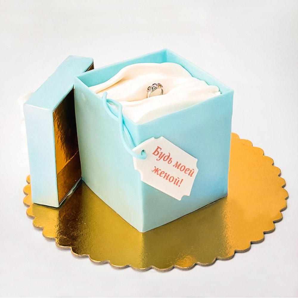 Торт коробка Tiffany с кольцом
