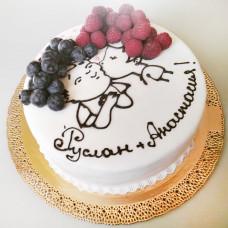 Торт на сватовство с влюбленными