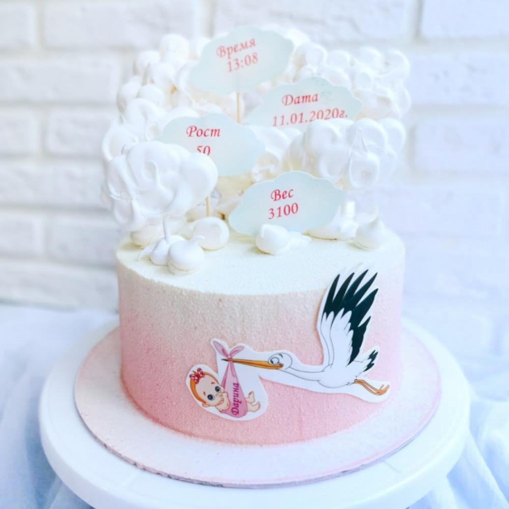 Торт с аистом на выписку