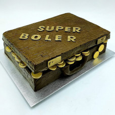 Торт чемодан с золотыми монетами