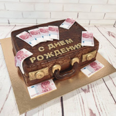 Торт чемодан с евро
