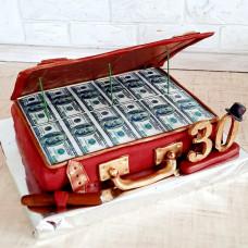 Торт открытый чемодан с деньгами