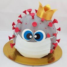 Торт вирус с короной и маской