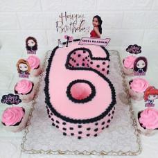 Торт цифра 6 Блэкпинк