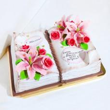 Торт книга с цветами