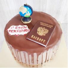 Торт на совершеннолетие с паспортом и глобусом
