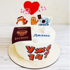 Торт с паспортом на 14 девочке