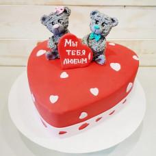 Торт день рождения в виде сердца