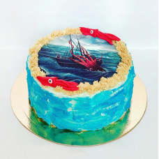 Торт без мастики корабль