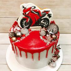 Торт с мотоциклом для мальчика