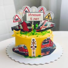 Торт с поездами для мальчиков