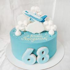Торт самолет в облаках