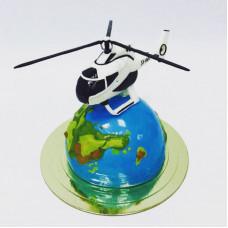 Торт земной шар и вертолет