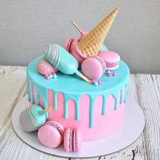 Торт с перевернутым рожком мороженого