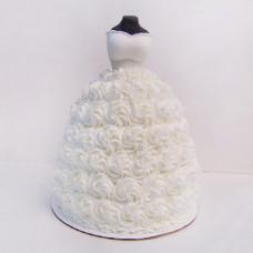 Кремовый свадебный торт платье
