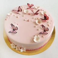 Зеркальный торт на свадьбу с бабочками