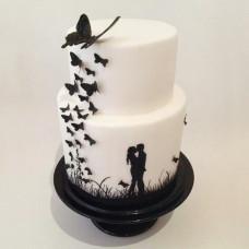 Двухъярусный торт на свадьбу с бабочками