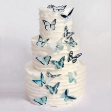 Свадебный торт с бабочками без мастики