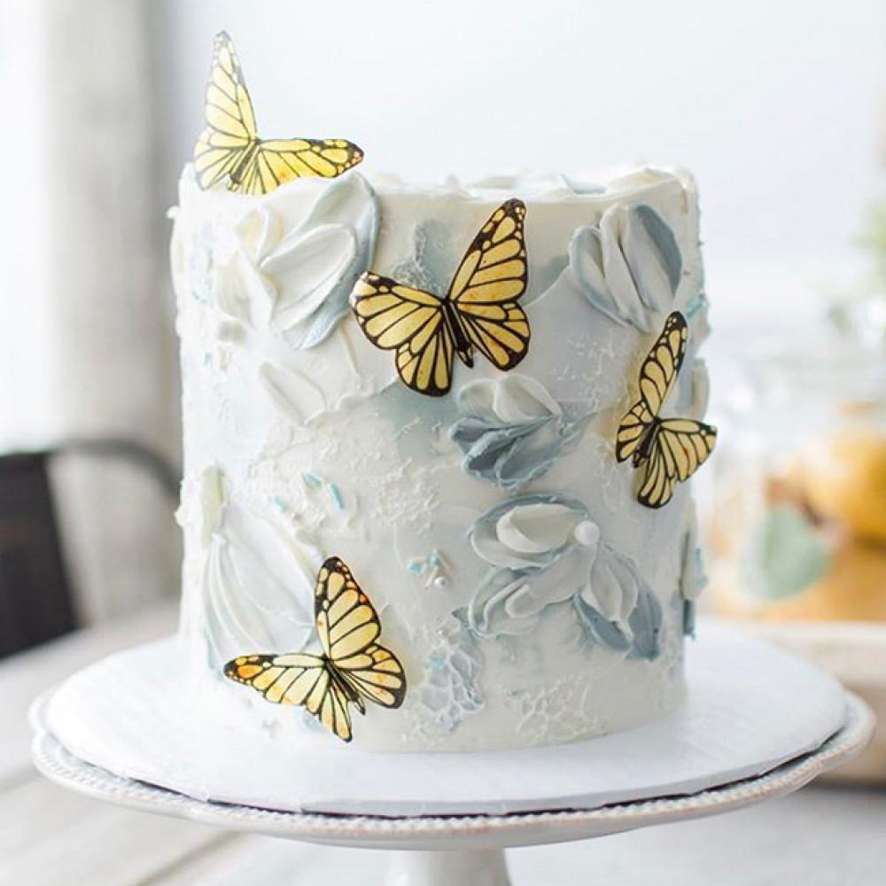 Одноярусный торт на свадьбу с бабочками